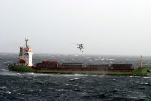 M/V Lehmann Timber supplied by the United States Navy helicopter after an engine breakdown following the release of the crew by the pirates